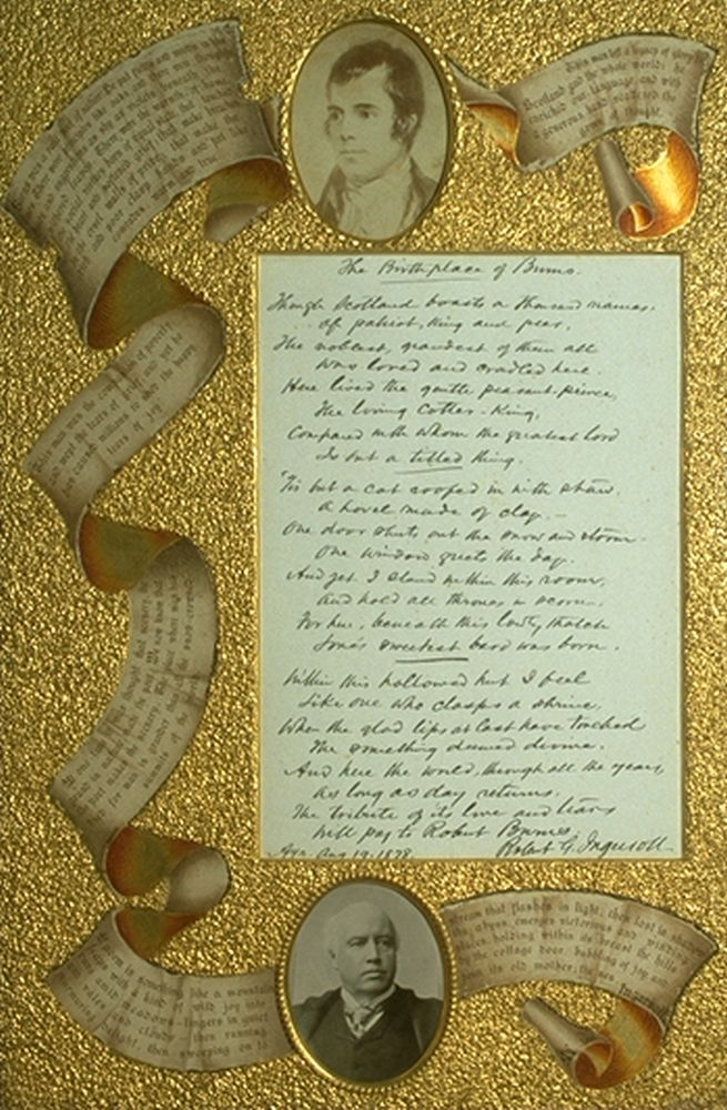 Framed poem 'Birthplace of Robert Burns' by Robert G. Ingersoll